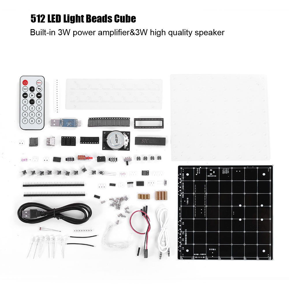 3d 8x8x8 Square Diy Led Blue Light Cube Kit Mp3 Music Spectrum Light Cube Circuits Audio & Video Replacement Parts