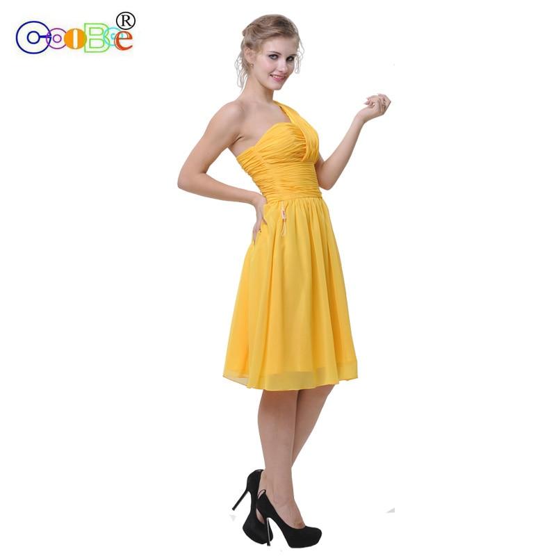 Prom   Bridesmaid     Dress   Short Fancy One Shoulder Pleat A-line Wedding Party   Dress   Short   Bridesmaid     Dress   Celebrity   Dresses   CO12001