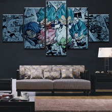 Framed 5 Panel HD Print Dragon Ball Super Modern Painting Canvas Wall Art Picture Home Decoration Living Room
