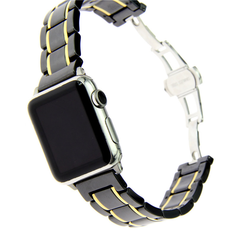 Luxury Watch Band For Apple Watch Series 4 Ceramics With Stainless Steel Watch Strap For Apple Series 1 2 3 Watchbands 44 42mmLuxury Watch Band For Apple Watch Series 4 Ceramics With Stainless Steel Watch Strap For Apple Series 1 2 3 Watchbands 44 42mm