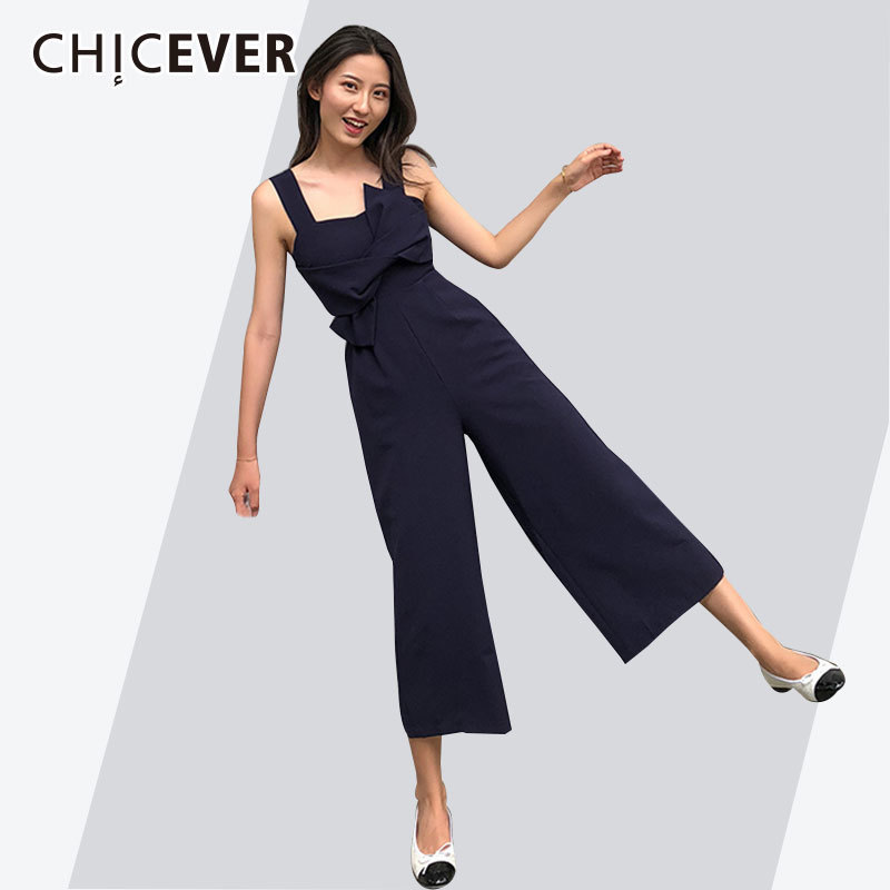 CHICEVER Summer Off Shoulder Trousers For Women Wide Leg Jumpsuits Female Pants Backless Plus Size Ankle
