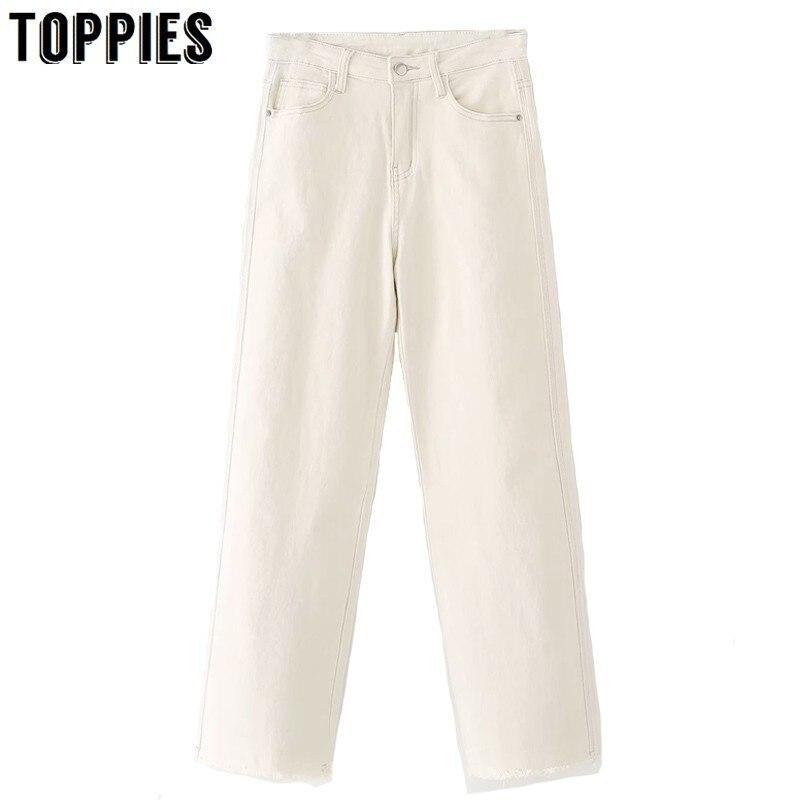 High Waist White Skinny   Jeans   High Stretch Classic Denim Pencil Pants Ripped Tassel   Jeans   Mom Style Streetwear
