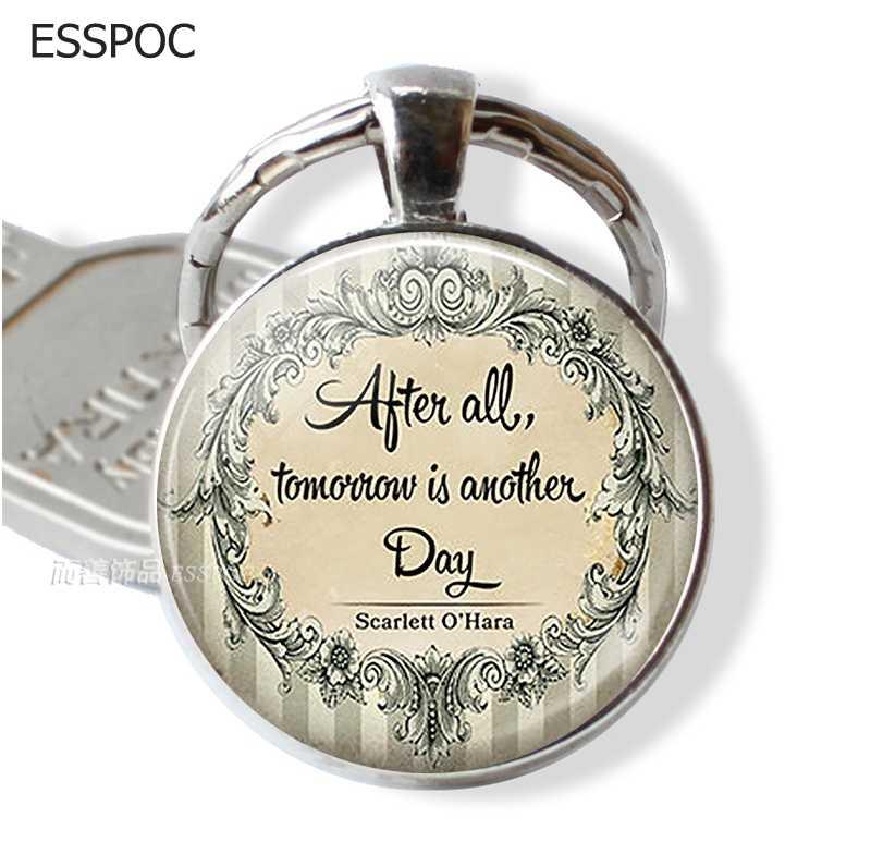 หลังจากพรุ่งนี้เป็นวันอื่นบุคลิกภาพจดหมายพวงกุญแจแก้ว Cabochon Key Chain โชคดีจี้ Keyring
