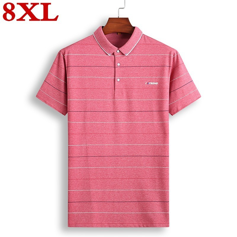plus size <font><b>8XL</b></font> <font><b>Men</b></font> <font><b>Polo</b></font> <font><b>Shirt</b></font> Summer <font><b>Men</b></font> Business Casual Breathable Striped Short Sleeve <font><b>Polo</b></font> <font><b>Shirt</b></font> Cotton Work Clothes <font><b>Polos</b></font> image