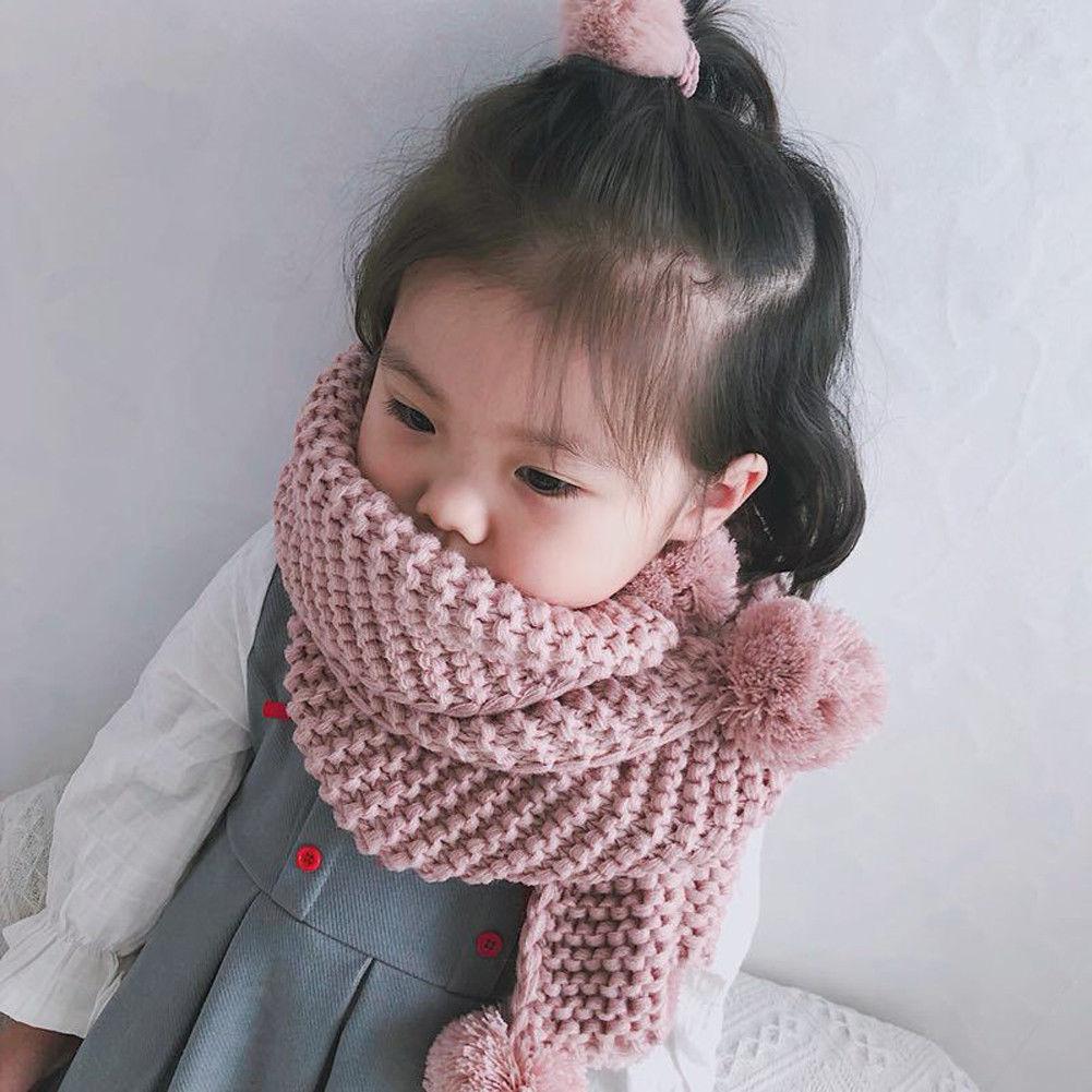 en venta fb867 b7074 €2.65 22% de DESCUENTO|Lovely chico s Baby Girls invierno bufanda chico  pompón bola tejer bufandas cálidas cuello calentador bufandas tejer 4 ...