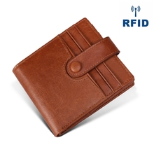Rfid Anti-Magnetic Leather Wallet Mens Business Fashion Multi-Card Hand Bag