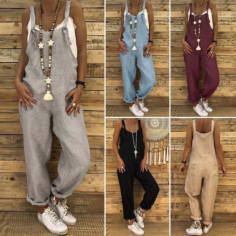 2019 ZANZEA Ladies Linen Overalls Vintage Casual   Jumpsuits   Women Playsuit Female Solid Pants Backless Streetwear Pantalon Romper
