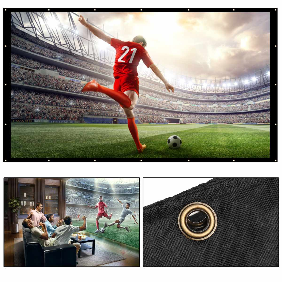 16:9 180 inch Portable Matt White Projector Screen Home Theater Outdoor Travel Cinema Foldable Roll Up Protection Screen newpal 150 inch projector screen 4 3 16 9 foldable projector screen for outdoor and home cinema movies