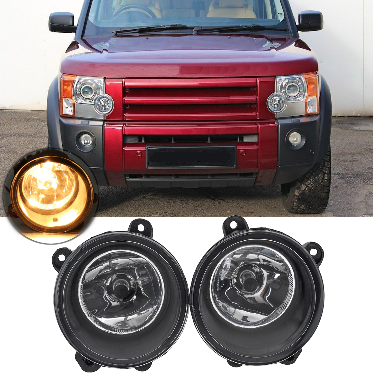 1Pair Car Fog Lights Clear Lamp H11 Bulbs Front Right+Left Fog Lamp For Land Rover Discovery 3 X2 2003 2009