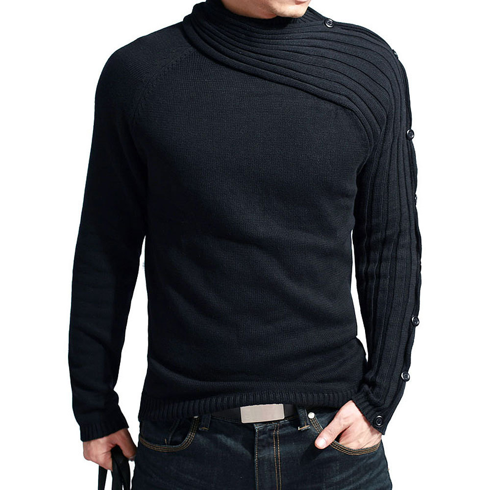 Sweater Pollovers Men 2018 Male Brand Casual Slim Sweaters Men Vogue Scarf Collar Thick Hedging Turtleneck Men'S Sweater XXL