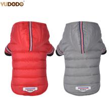 Małe ubrania dla psa zimowa ciepła peleryna dla psa kurtka Puppy Cat odzież typu Outdoor bluzy dla Yorkshire Teddy strój XS-XL tanie tanio YUDODO Poliester Jesień zima Stałe 30356 Small Medium Dog Coat Red Gray 8-XS 10-S 12-M 14-L 16-XL Hooded Winter Warm Pet Outfit