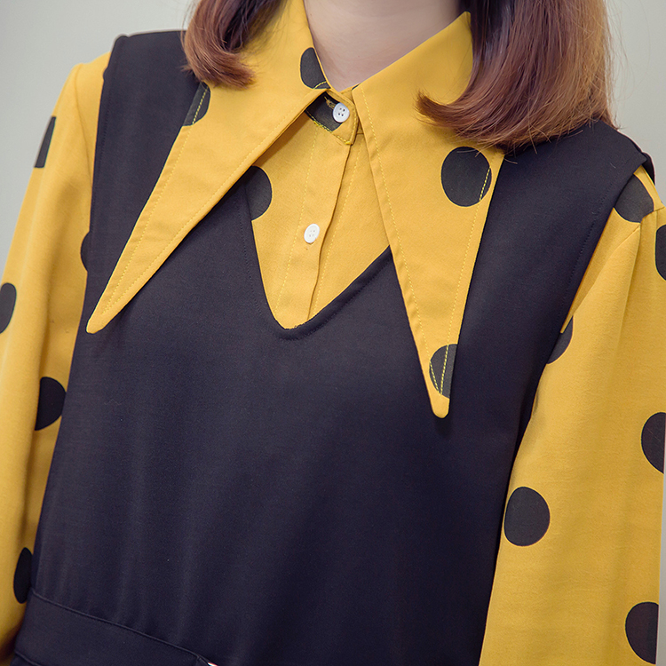 XL-5XL Plus Size Women Tops Autumn 2018 Vintage Polka Dot Print Long Sleeve Yellow Shirts and Knitted Vest Two Piece Set 5