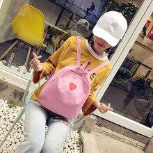 Women Love Heart Printed Backpack Harajuku Cute Soft Sister Pink Backpacks for Teenage Girls Japanese Canvas Small School Bag