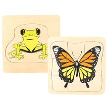 Montessori Wooden Material Frog and Butterfly Growth Jigsaw Puzzle Parent-Child Communication Training Game for Kids Children