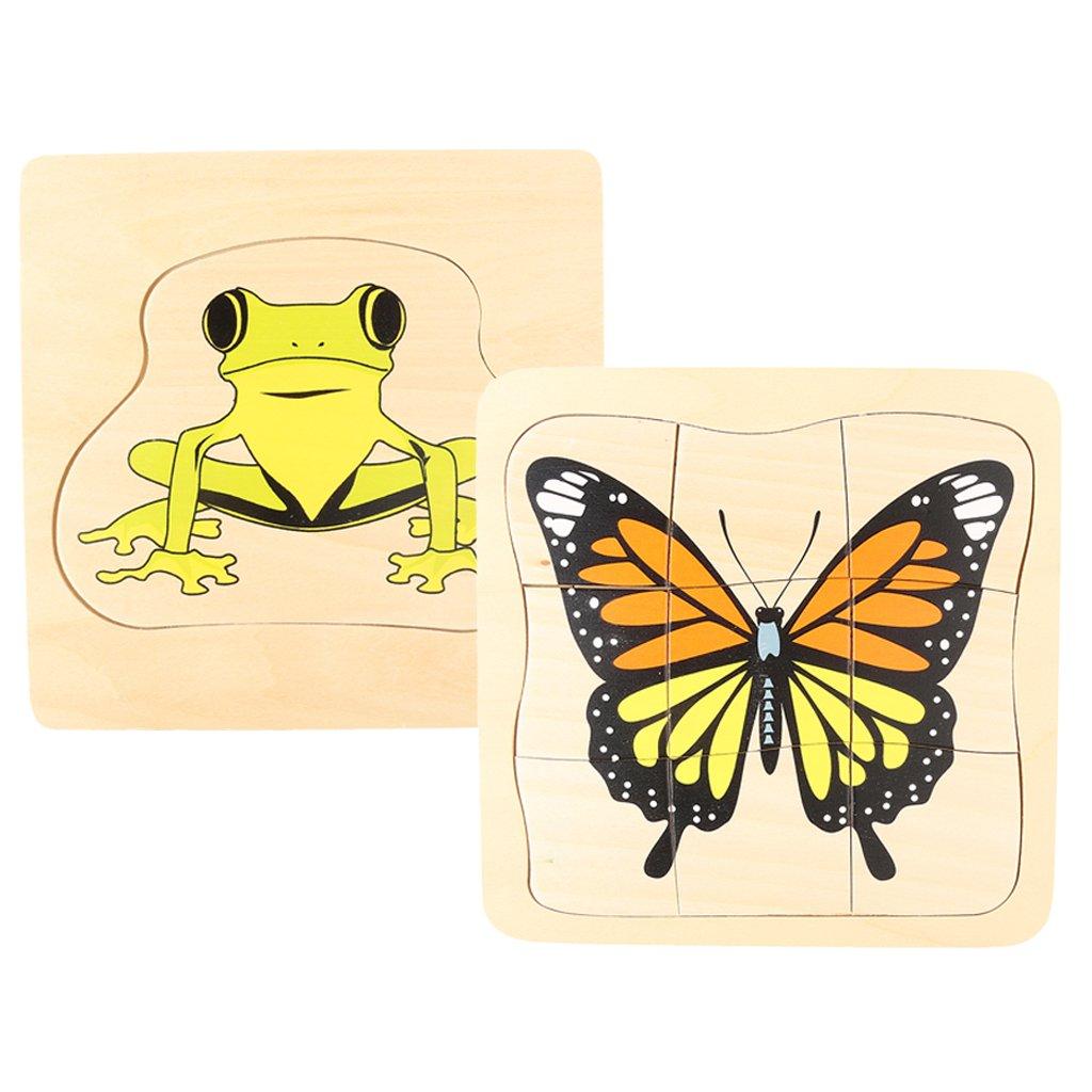 Montessori matériel en bois grenouille et papillon croissance Puzzle Parent-enfant Communication jeu de formation pour enfants enfants