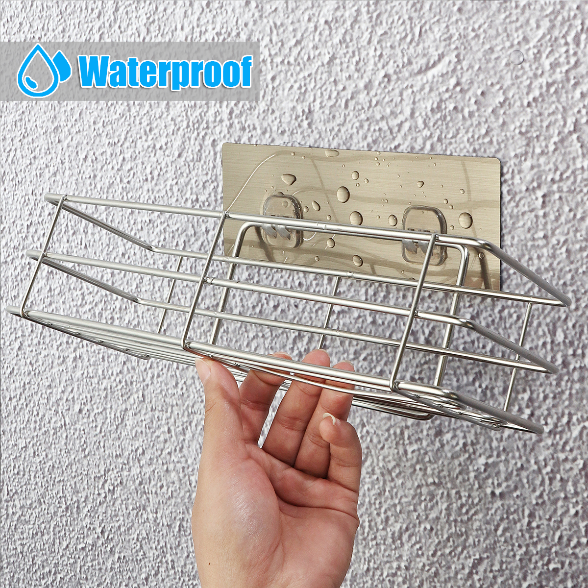 Shower Storage Shelf Rack Organizer Wall Bathroom Kitchen Caddy Basket Holder Easy Installation For Home Silver Hollow Loading