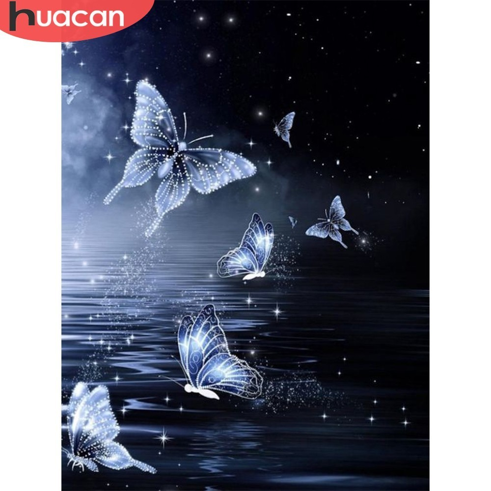 HUACAN Full Square Diamond Painting Butterfly Sea Farmhouse Decor Picture Of Rhinestone 5D DIY Mosaic Diamond Embroidery