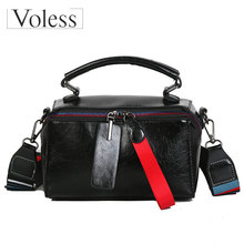 VOLESS Fashion PU Leather Women Handbags Double Zipper Messenger Bags Colorful Wide Strap Patchwor Tote Sac A Main