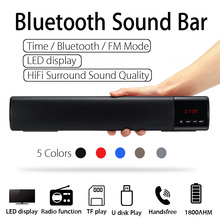 Portable LED bluetooth Speaker Soundbar 10W TF FM USB Wireless 3D Stereo Sound Subwoofer Column for Computer TV Phone