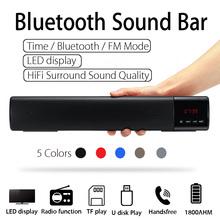 Portable LED bluetooth Speaker Soundbar 10W TF FM USB Wireless 3D Stereo Sound Subwoofer Column for Computer TV Phone