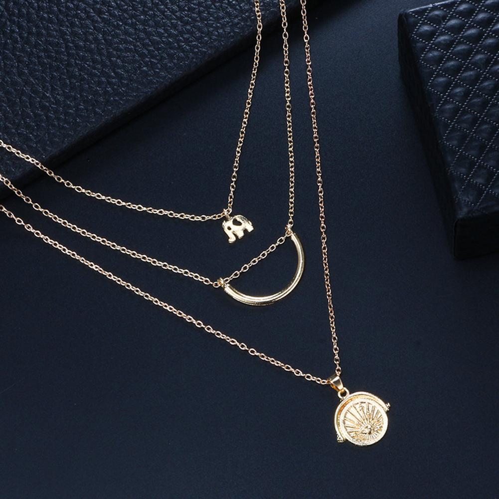 2019 Women Bohemian Vintage Elephant Crescent Planet Multilayer Chain Statement Charm Necklace Jewelry Collier Femme Wholesale in Pendant Necklaces from Jewelry Accessories