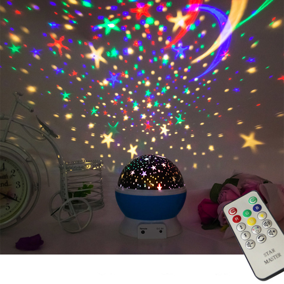 Recharge Remote Control Music Romantic Rotating Star Moon Sky Rotation Night Projector Light Lamp Projection For Kids Baby Sleep