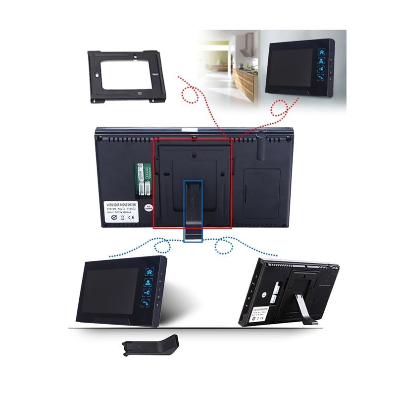 Clé de presse filaire 7 pouces vidéo porte téléphone interphone sonnette système Kit Vision nocturne 1 Rfid clavier Code Ir caméra + 1 moniteur - 3
