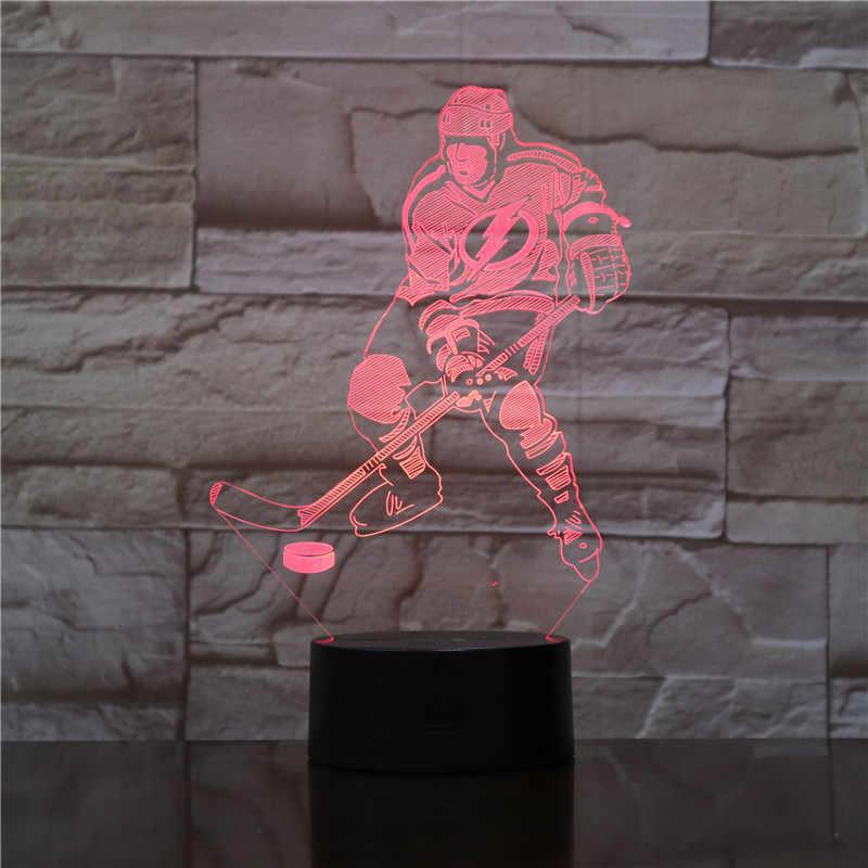 7 สีเปลี่ยนห้องนอนนอนแสง 3D Ice ฮอกกี้ Goalie ตารางโคมไฟ Led Nightlights Usb แฟนกีฬาของขวัญตกแต่งบ้าน 1776