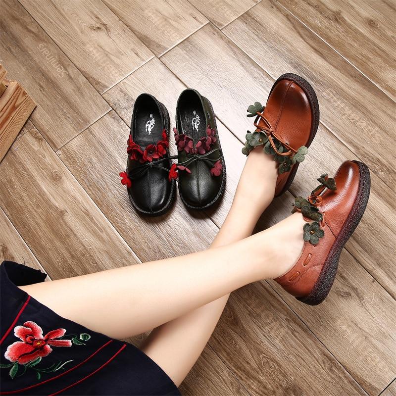 2019 Automne En Plats De Chaussures Slipona Femmes Véritable Mocassins Noir vert Espadrilles D'été Faible Ballet brown Cuir Fleur Talon FRfxqZ