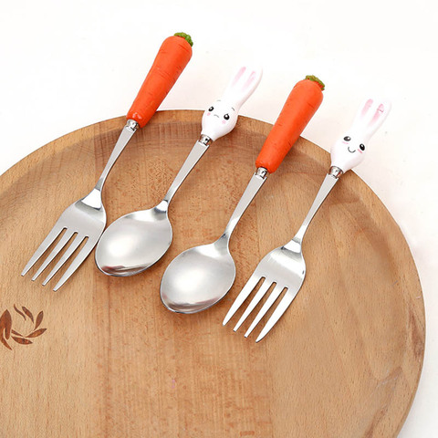 Fork Ceramic Handle Cute Kitchen Gadgets Stainless Steel  Baby Kid Tableware Carrot Spoon Dining Appliance 1PC Islamabad