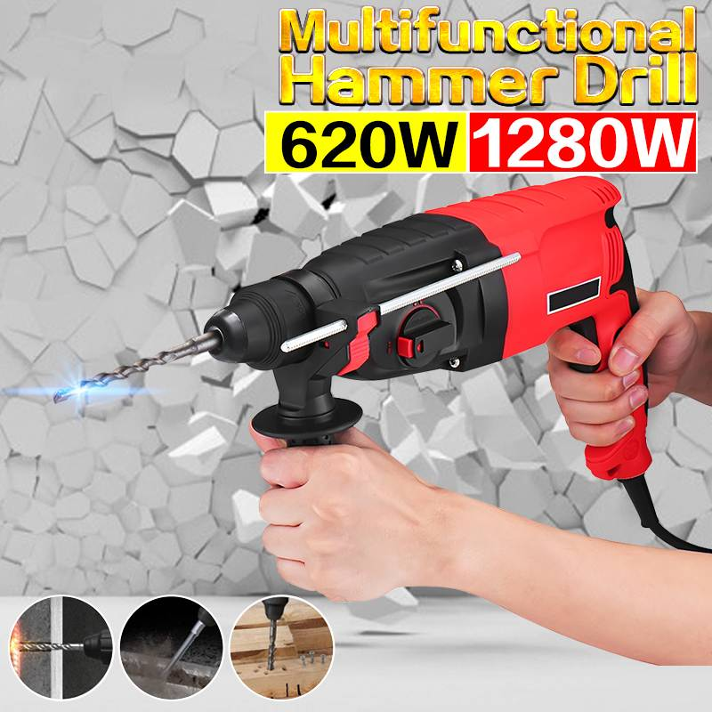 220V 620W/1280W 24/26mm 3 Function Electric Impact Drill Rotary Hammer Electric Pick w/2xDrill Household Woodworking Screwdriver220V 620W/1280W 24/26mm 3 Function Electric Impact Drill Rotary Hammer Electric Pick w/2xDrill Household Woodworking Screwdriver