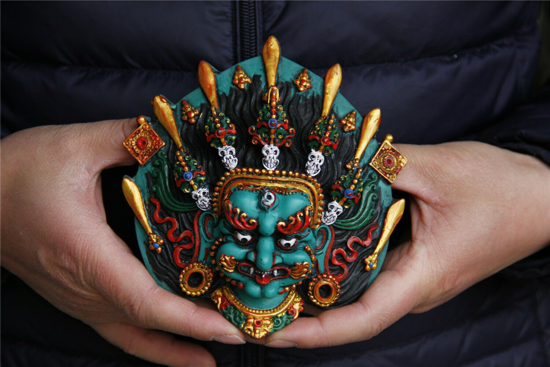 Tibet Buddhism Turquoise Gilt Sword Skull Mahakala Mask Statue