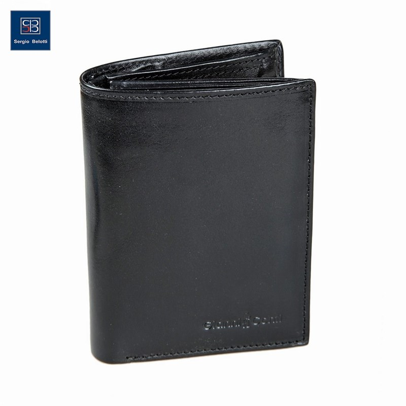 Coin Purse Gianni Conti 908037 black simline vintage genuine crazy horse cow leather men men s long hasp wallet wallets purse zipper coin pocket holder with chain