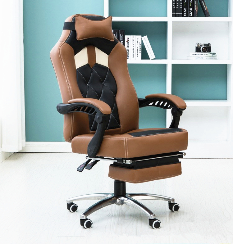 Купить с кэшбэком Super Soft Fashion Simple Modern Office Computer Chair Multifunctional Leisure Lying Lifting Boss Swivel Chair With Footrest