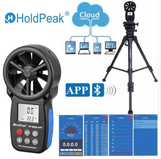 Digital Wind APP 0 ToolsHoldPeak Measure HP Mobile 30m 3 S Temperature Anemometer Speed Meter With Measurement APP Tester 866B