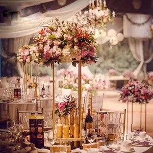 Image 1 - 10 pces casamento/mesa peça central flor vaso vasos de assoalho metal estrada chumbo flor suporte/pote/rack para casamento/festa decoração g0502