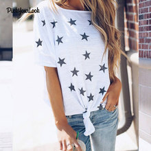 hot deal buy pickyourlook women summer short sleeved cool tee shirts stars print t shirts bandage tees femme tops loose female t-shirts