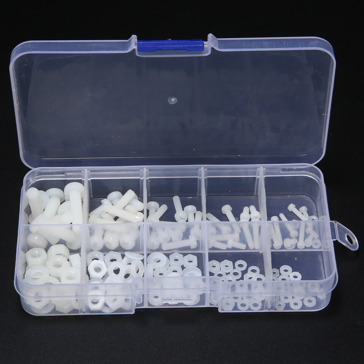 150pcs M2 M2.5 M3 M4 M5 White Nylon Hex Screw Bolt Nut Standoff Spacer Kit Non-magnetic with Plastic Box150pcs M2 M2.5 M3 M4 M5 White Nylon Hex Screw Bolt Nut Standoff Spacer Kit Non-magnetic with Plastic Box