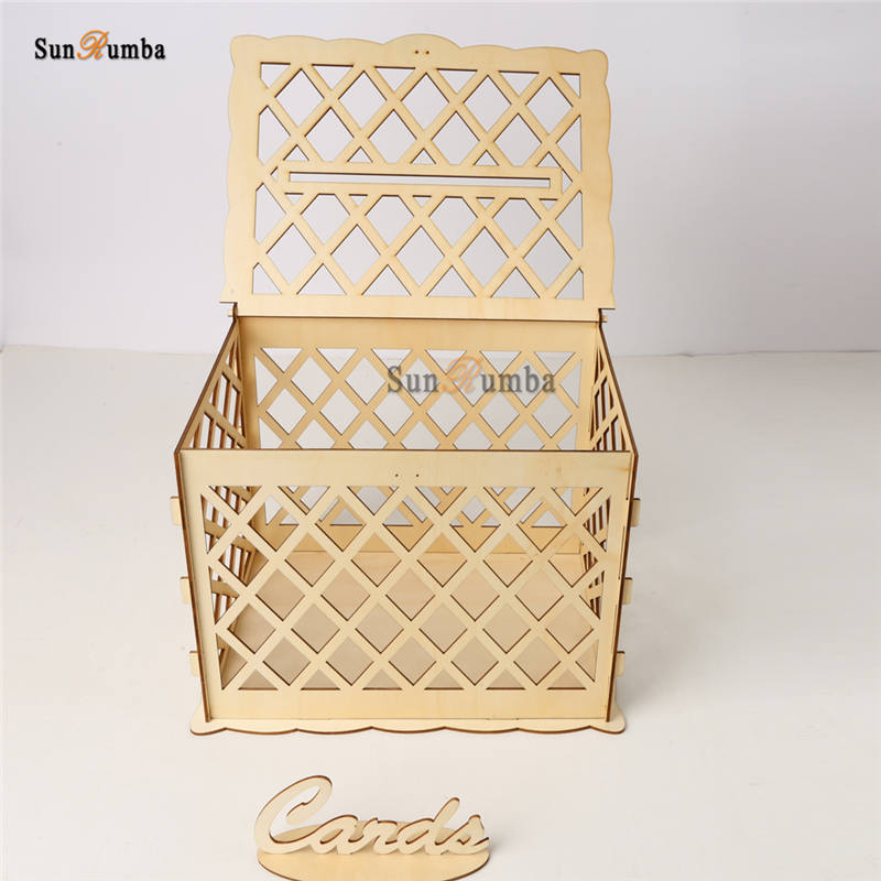 DIY Wedding Wooden Money Box With Lock Party Decor Keepsake Box Wedding Gift Secure Card Holder Box Wedding Decoration Container in Party DIY Decorations from Home Garden
