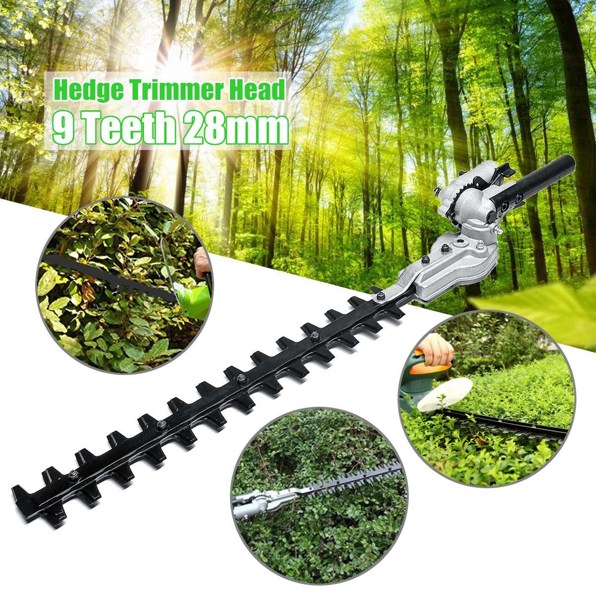 New 9 Teeth Gearbox 28mm Pole Hedge Trimmer Bush Cutter Head Attachment For Trimming Hedges Chainsaw Garden Power ToolsNew 9 Teeth Gearbox 28mm Pole Hedge Trimmer Bush Cutter Head Attachment For Trimming Hedges Chainsaw Garden Power Tools