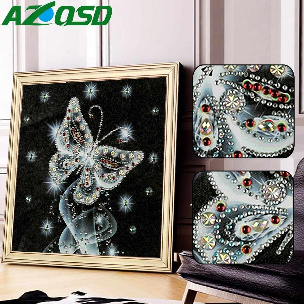 AZQSD Diamond Painting Butterfly Picture Of Rhinestone Special Shaped Round Diamond Embroidery Animal Decoration 5D 25x25cm