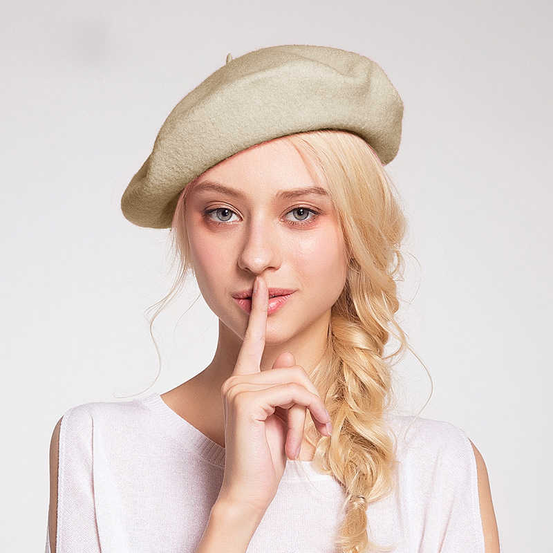 ... Elegant Lady Women Wool Felt Warm French Classic Beret Beanie Slouch Hat  Cap Tam ... ff33a1f4481c