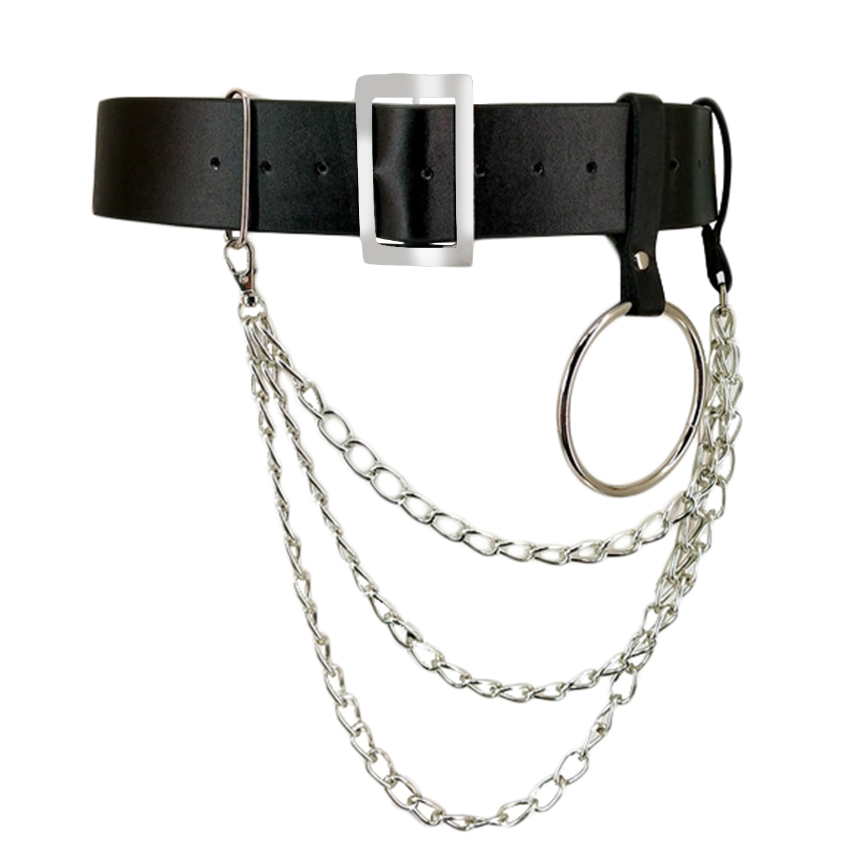 Women Pu Leather Harness Body Belts With Chain Waist Bondage Garters Punk Adjustable Suspender Straps