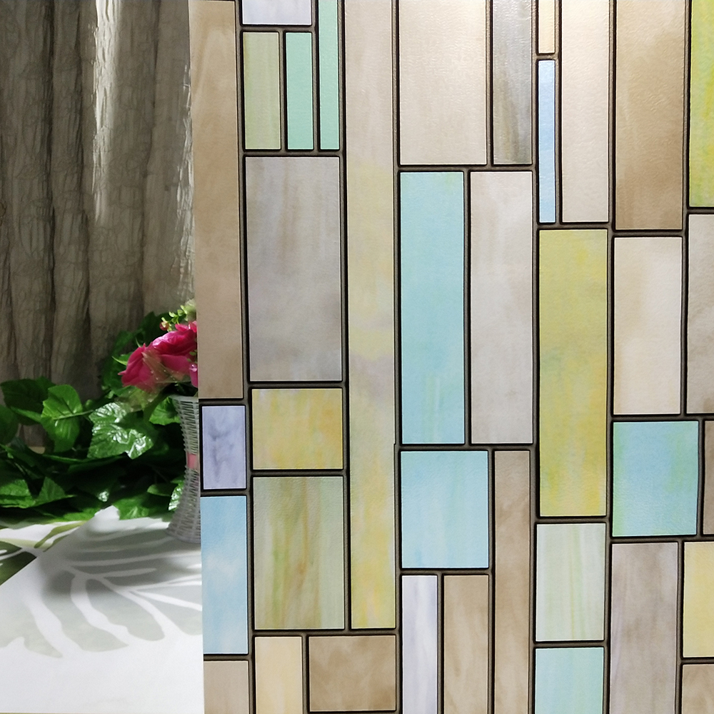 Static Cling Window Door Film 3D Privacy Non Glue Frost Stained Glass Cover Deco