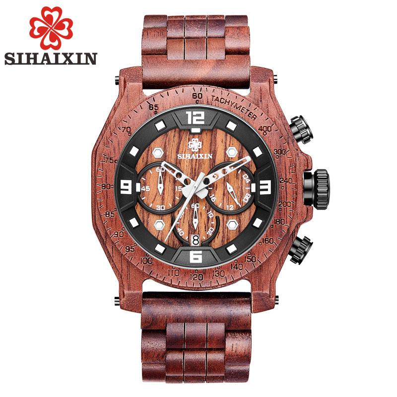SIHAIXIN Nature Wood Watch Men High Quality Waterproof Date Business Quartz Male Clock Christmas Gift erkek kol saati
