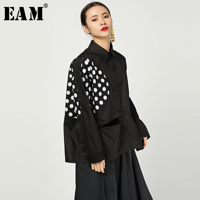 [EAM] 2019 New Spring Summer Lapel Long Sleeve White Dot Printed Loose Big Size Irregular Hem Shirt Women Blouse Fashion JO103
