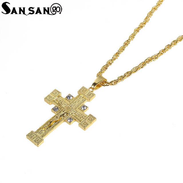 Bullet Pendant ALP Glitter Rhinestone Uzi Gun Bullet Pendant Necklace Bling Golden Metal Long  Hip Hop Cuba Chain Jewelry