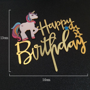 Image 2 - ユニコーンアクリルハッピーバースデーケーキトッパーのためのベビーシャワーのケーキトッパーケーキトッパーウェディングケーキ装飾旗