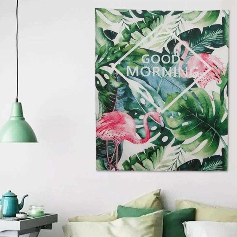 열대 잎 monstera 플라밍고 핑크 태피스트리 벽 교수형 선인장 decoracion 기숙사 룸 gobelin 비치 매트 boho 장식 홈 벽화