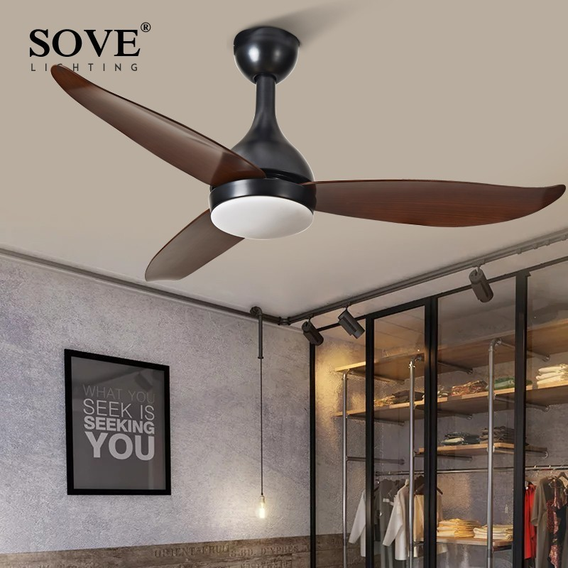 SOVE Modern Nordic Ceiling Fans With Lights Bedroom Home Ceiling Light Fan Remote Control Lamp 220v